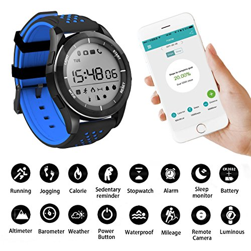 Reloj Deportivo, A0ZBZ Bluetooth 4.0 Impermeable Pulsera Inteligente Fitness Wristband Podómetro con Seguimiento de Pasos / Contador de Calorías / Seguimiento de Sueño Pulsación de Notificación de Llamada para iPhone iOS y Teléfono Android (Azul Negro)