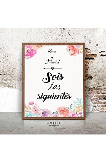 Cuadro digital o impreso para regalar en las bodas a los 'siguientes' que se casan. . Personalizado.