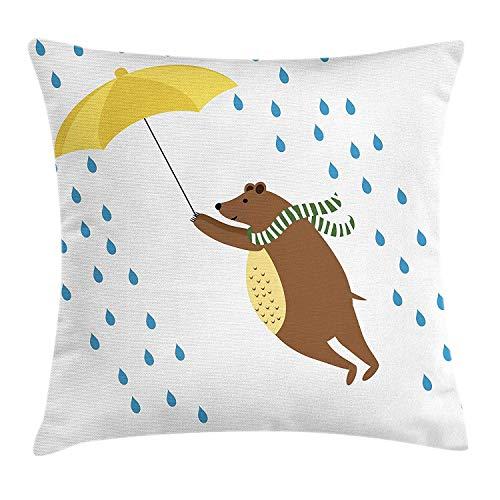 shizh Dekokissen KissenbezugBär mit Regenschirm und Schal im regnerischen Tageswinter Autumn Season Nursery Kids Theme Pillowcase 45x45cm -