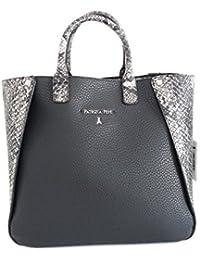 PATRIZIA PEPE DV7115 borsa donna con tracolla e pochette interna ecopelle black/grey python mis. 36x30 cm.