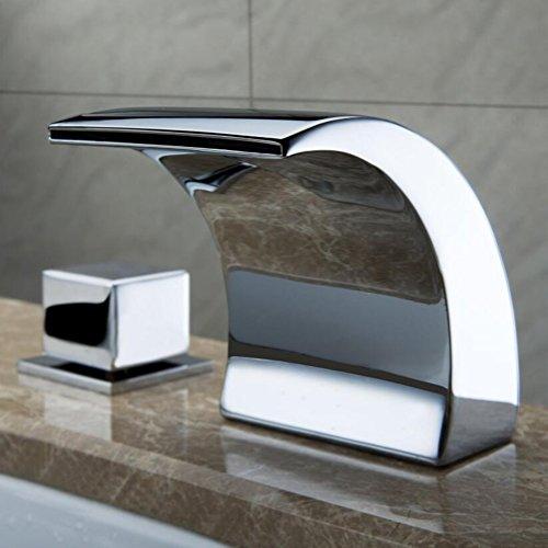 Zeitgenössisch Centerset LED/Wasserfall Mit Keramikventil Zwei Griffe Drei Löcher zum Chrom Waschbecken Wasserhahn -