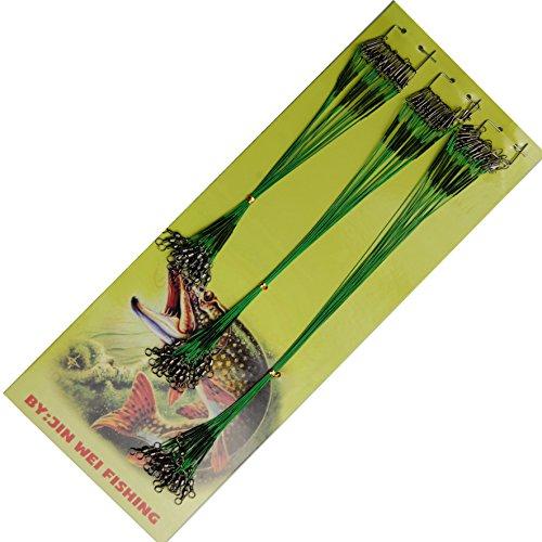 jshanmei® 60pcs/lot Leader un glissement en douceur corps vert pivotant en acier inoxydable avec agrafage à fil et Leader (Taille?: 15/15/20/25cm 1x 7/13kg)