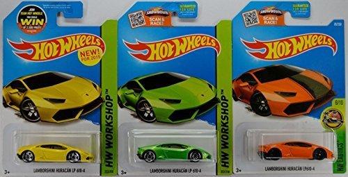 2015/2016 Hot Wheels Lamborghini Huracan LP 610-4 (Yellow/Green/Orange) Complete Set of 3! by Mattel