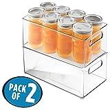mDesign Caja organizadora transparente - Guardatodo para heladera, estantes o armarios - Contenedor plastico resistente - Con práctica asa para llevar - Set de 2 unidades