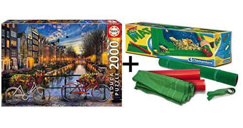 Pack Puzzle Educa 17127. Amsterdam. 2000 piezas + Tapete universal Puzzle Roll 4809/49267