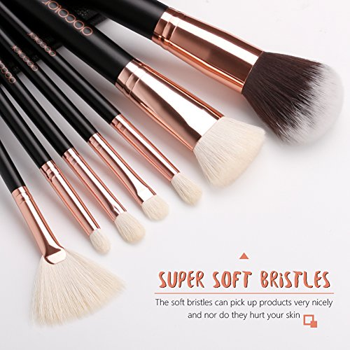 Docolor Makeup Brushes 15 Pcs Makeup Brushes Set Premium Synthetic Goat Hairs Foundation Blending Blush Face Eyeliner Shadow Brow Concealer Lip Cosmetic Brushes Kit with Cosmetic Bag Rose Gold