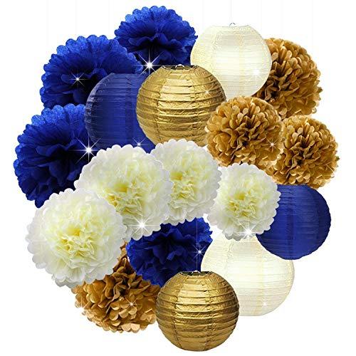 Erosion 18Stck Marineblau Gold Creme 10 Zoll 12 Zoll Seidenpapier Pom Pom Papier Blumen Waben Papierlaternen für Marineblau unter dem Motto Party Dekoration Brautdusche Dekor Babydusche Königlicher