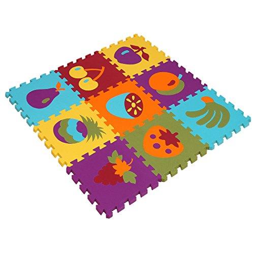 Eva-boden-matte (MQIAOHAM Wasserdichte EVA Puzzle Mat Kinder Krabbeln Matte Schaum Mosaik Bodenmatte r Matte Teppich Set von 9pcs 30x30x1cm Baby Verriegeln EVA Schaum Boden Puzzle Spiel Matte Obst Muster P006G3010)