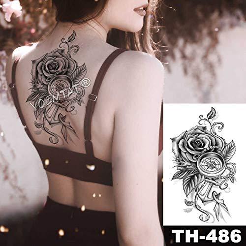 tzxdbh wasserdichte Brust Tattoo Sticker Linie Rose Pfingstrose Tattoo Tatto Body Art für Frauen-in Tattoos von 20-TH486
