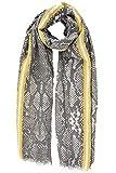 Style Slice Schlangenmuster Damen Schal Frühling Sommer - Gelb Rot Blau Grau Rosa - Viskose - Tuch Tücher Elegant Leicht XXL Groß Oversized - Snake Print - UK - Geschenk für sie (Grau/Gelb)