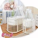 ComfortBaby © 4 in 1 - Baby / - lit ENFANTS - ovale - en bois massif - lit d'enfant, parc à bebe, un lit, y compris le ciel mini, couvertures, couvertures, matelas, tour de lit et beaucoup plus - TOUT COMPRIS