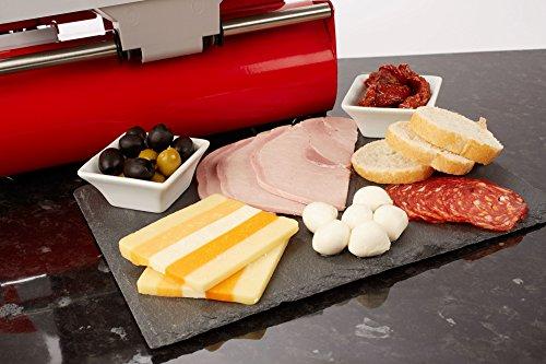 Andrew James - Elektrische Präzisions-Aufschnittmaschine Allesschneider in Rot - 19cm Klinge + 2 Extra Klingen für Brot und Fleisch - 2 Jahre Garantie -