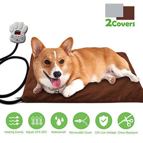 Cojín de Calefacción para Mascotas FOCHEA 15W Manta Eléctrica para Perros y Gatos con 7 Niveles de Temperatura Ajustable, 25~55℃, 2 Cubiertas de Muletón (Rectángulo 40 * 30cm)