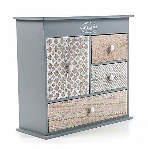 Mini-Kommode aus MDF, 4 oder 6 Schubladen mit Silberdekor, Vintage-Grey-Design freistehend, grau, Höhe ca. 22,5 oder 28,3 cm (Große Mini-Kommode)
