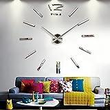 Horloge Murale Design DIY, Horloge Salon Moderne, Moon mood® élégant Design Grande Murale 3D Stickers Silencieuse l'horloge de Salon Pendule Metal Métallique Frameless Auto-adhésive Muraux Horloge Moderne Maison intérieure Décoration Wall Clock Argent