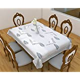 "Mother's Day Deals On Linenwalas 100% Cotton 2 Seater Hand Block Print Square Table Cover With 2 Napkin Set - Grey Leaf With Black Paisely Print Border - 45"" X 45"""