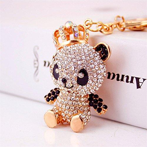 Bellecita Mode Schlüsselanhänger Dekorationen Strass Krone Panda Anhänger Metall Schlüsselanhänger Geldbörse Handtasche Auto Charme Keychain Geschenk (weiß) Strass-panda