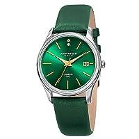 Akribos XXIV Women's AK879GN Diamond Accented Silver Tone Stainless Steel Green Leather Strap Watch
