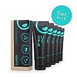 happybrush vegane Aktivkohle Zahncreme | natürliches Whitening mit Kohle für weisse Zähne | 5er Pack SuperBlack Kohle Bleaching Zahnpasta glutenfrei & ohne Plastik (5x 75ml)