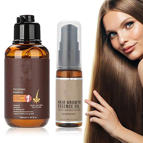 Anti-Haarausfall Shampoos mit Haarwachstum Serum, Ingwer Kräuter Anti-Hair Loss Shampoo, Pflegeshampoo zur täglichen Anwendung für natürliche Haarfülle, Fördern Sie Haarwachstum