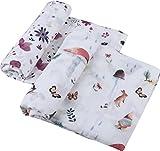 Little Jump Musselin Decke Swaddle Pucktücher aus Puckdecken (2 Stück, Forstflächen & Florale) Bambus Baumwolle Baby Einschlagdecke - weiche Baby Decken für Mädchen (Forstflächen & Florale)