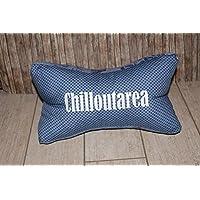 cooler Leseknochen Nackenstütze Nackenrolle Buchstütze Relaxing Neck Pillow Tabletstütze Lagerungskissen Chilloutarea blau Jeansstoff