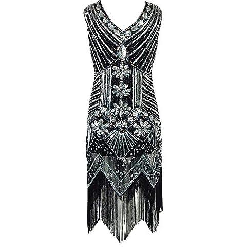 Womens 1920s Art-Deco-Diamant-Paisley-Sequined verschönertes gesäumtes Flapper-Troddel-bezauberndes Partei-Kleid