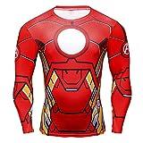 Inception Pro Infinite Maglia T-Shirt Sportiva Manica Lunga con Stampa Iron Man per Uomo - (S)