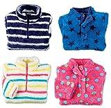 FCO Girls Childrens Fleece Top Thermal Top Plush Cosy Jumper Zip Top Sweatshirt
