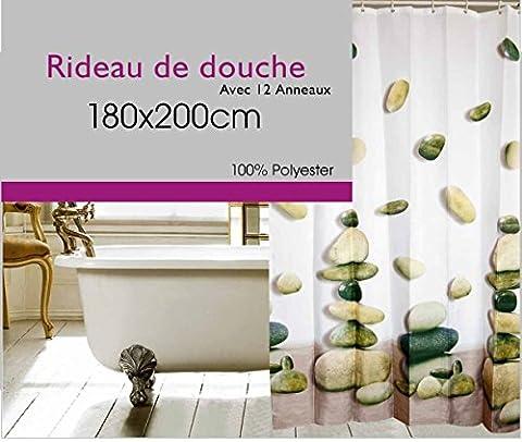 Rideau De Douche Textile 180 x 200 Lavable Machine