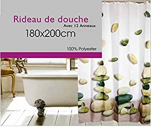 rideau de douche textile 180 x 200 lavable machine galets. Black Bedroom Furniture Sets. Home Design Ideas