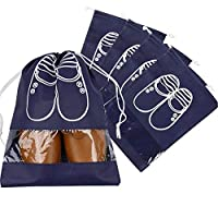 H.W.T 5x Portable Dust-proof Breathable Travel Shoe Organizer Bags Transparent Window for Boots, High Heel Drawstring, Space Saving Storage Bags