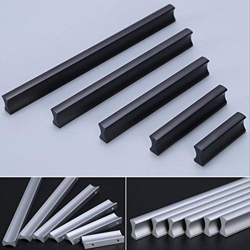 Angela-homestyle™ Möbelgriffe Aluminium Relinggriff Handgriff Griff für Küche Schublade, Tür, Schränke Dekoration (32mm, Schwarz)