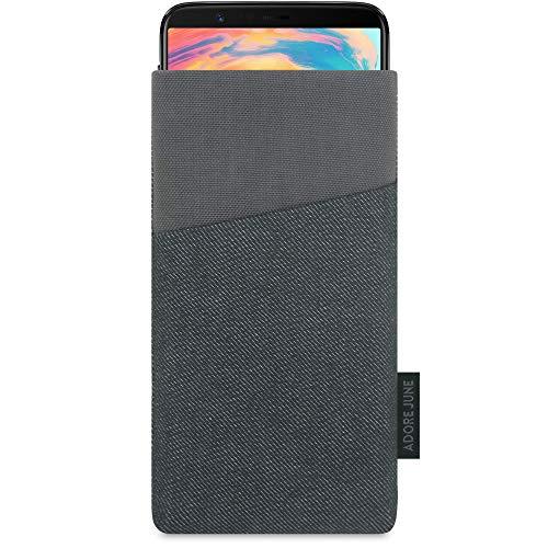 Adore June Tasche Clive für OnePlus 5T und OnePlus 6, Handyhülle mit Extrafach und Display-Reinigungseffekt, Schwarz/Grau