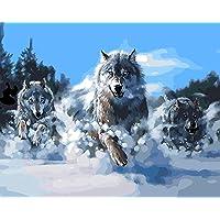 Fuumuui Lienzo de Bricolaje Regalo de Pintura al óleo para Adultos niños Pintura por número Kits Decoraciones para el hogar-Lobos 16 * 20 Pulgadas