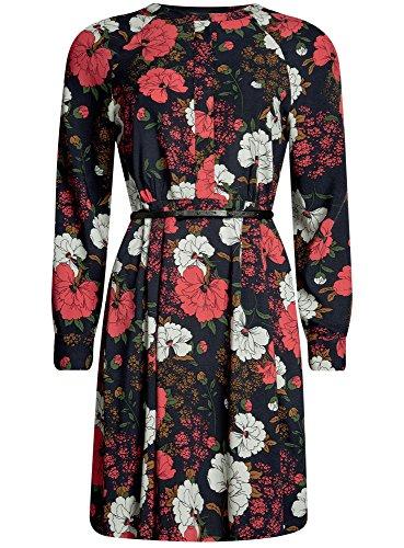 oodji Collection Damen Viskose-Kleid mit Gürtel Schwarz (2945F)