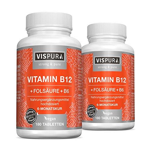 2 Dosen Vitamin B12 hochdosiert 1000 µg mit VITAL-Formel Folsäure + Vitamin B6 Methylcobalamin je 180 Tabletten VEGAN deutsche Premium-Qualität und 30 Tage kostenlose Rücknahme
