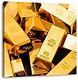 Pixxprint Une Grande quantité de lingots d'or 70x70 cm Art Toile décoration...
