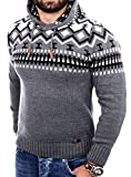 Reslad Norweger Pullover Herren Winterpullover Kapuzenpullover   Strickpullover für Männer RS-3013 (3XL, Anthrazit)
