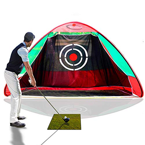 Galileo Cross Golf net | practice driving indoor and outdoor|golf net for backyard driving with target|pop up golf driving netting (Green)