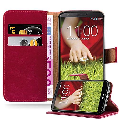 Cadorabo Hülle für LG G2 - Hülle in Wein ROT – Handyhülle im Luxury Design mit Kartenfach und Standfunktion - Case Cover Schutzhülle Etui Tasche Book