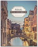 DÉKOKIND Vokabelheft   DIN A4, 84 Seiten, 2 Spalten, Register, Vintage Softcover   Dickes Vokabelbuch   Motiv: Venedig