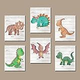 canvas print Watercolor Dinosaurier Kinderzimmer Decor Dinosaurier Wand Kunst Dinosaurier Wand Decor T Rex Big Boy Raum Bilder auf Leinwand Oder Druck Set von 6Dinosaurier