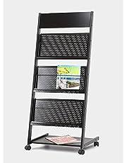 Lepose Sai 4-Tray Magazine Display Stand Organizer Rack, 24Inch (Black) (4 Pocket)