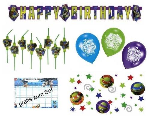 (Großes Dekoset Ninja Turtles Geburtstag Girlande + Luftballons + Halme + Konfetti)