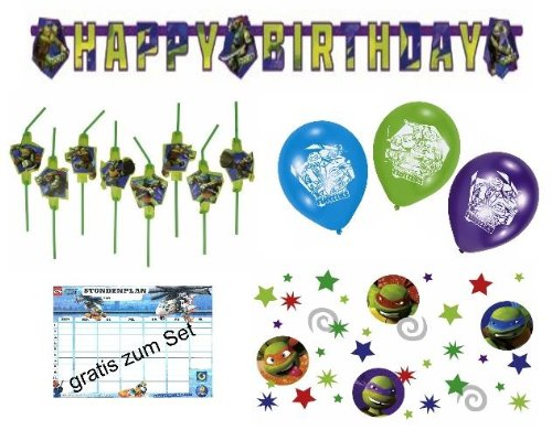 Großes Dekoset Ninja Turtles Geburtstag Girlande + Luftballons + Halme + (Ninja Turtle Große)