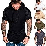 HWTOP Herren Sweatshirt Hoodie Männer Kapuzenpullover Slim Fit Pullover Lässige Drapierungsmuster T-Shirt Kurzarm Top Bluse