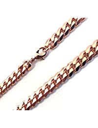 "TENDENZE Curb Chain Necklace 18ct Rose Gold Doublé 5.3mm/0.21"", Length Choosable, Directly From The Italian Factory"