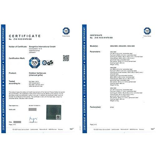 51EtV9SPHKL - SONGMICS Holzkohlegrill mit Deckel, emaillierter Kugelgrill klein Ø 34,5 cm für Garten, Party, Camping, Standgrill mit Ascheauffangschale GBQ14BK