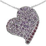 Jewelry-Schmidt-Schmuck-Schmidt-Necklace Amethyst Rhodolite Heart-90 Gems Sterling Silver 4.50 carats
